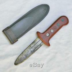 WW2 era American fighting dagger/boot knife made from M1905 blade, NORD scabbard