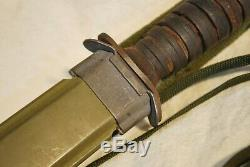 WWII US Bladed M8 AI Fighting Knife Dagger M3 IMPERIAL Original Scabbard Signed
