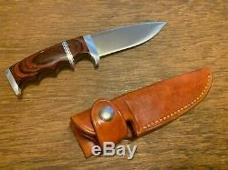 Walter Stockdale Finger Grip Fixed Blade Knife with Custom Leather Sheath