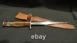 Wwii Ww2 Stiletto Fighting Knife. 6 3/4 D/e Dagger Blade. Theater-made I. D